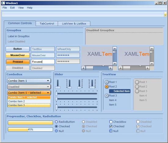 WPF/XAML Theme/Style/Template office dark blue