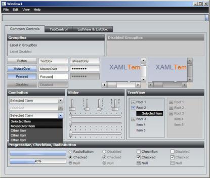 WPF/XAML Theme/Style/Template light grey dark grey