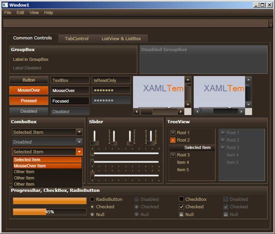 WPF/XAML Theme/Style/Template brown orange
