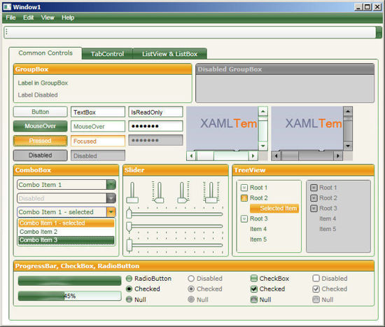WPF/XAML Theme/Style/Template white green orange