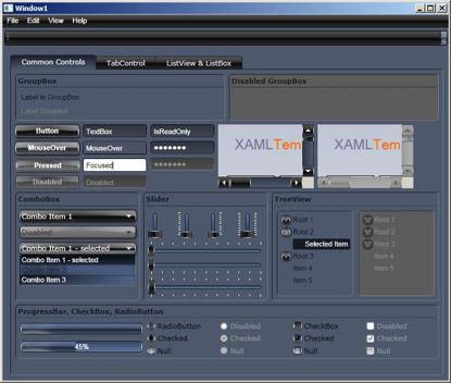 WPF/XAML Theme/Style/Template bark blue black