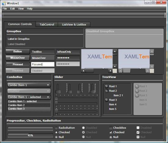 WPF/XAML Theme/Style/Template dark grey