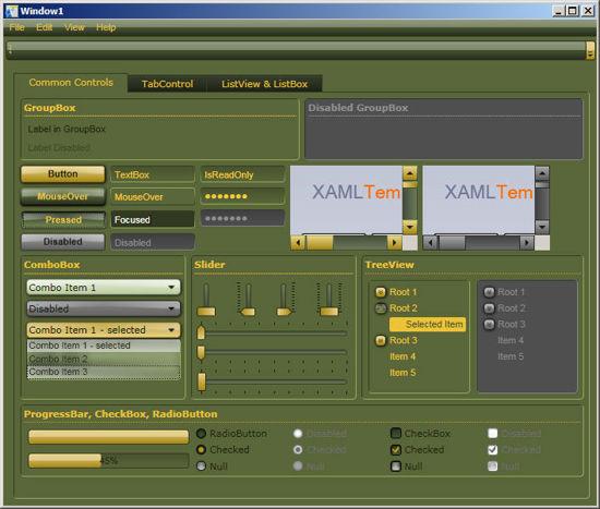 WPF?XAML Theme/Style/Template green yellow